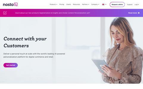 Screenshot of Home Page nosto.com - Nosto - World's Leading E-commerce Personalization Platform - captured Sept. 12, 2018
