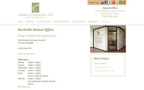 Screenshot of Contact Page Maps & Directions Page cherylcallahandds.com - Dentist Rockville MD   Cheryl F. Callahan and Associates - captured June 22, 2016