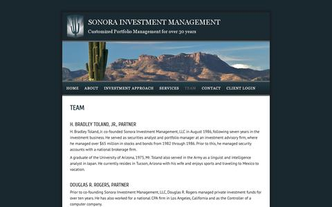 Screenshot of Team Page invmgmt.com - About the Arizona Investment Advisors Team at Sonora — Sonora Investment Management - captured Oct. 19, 2018