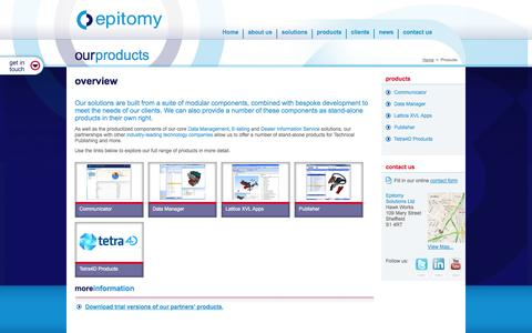 Screenshot of Products Page epitomy.com - Epitomy Solutions - Our Products - captured Oct. 8, 2014