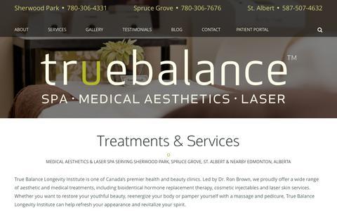 Screenshot of Services Page mytruebalance.ca - Medical & Spa Services | True Balance Longevity Institute | AB - captured Oct. 18, 2018