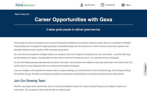 Screenshot of Jobs Page gexaenergy.com - Career Opportunities at Gexa Energy | Gexa Energy - captured Aug. 13, 2019
