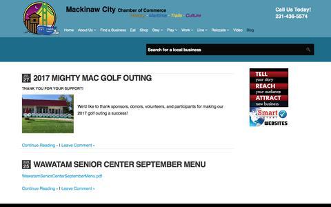 Screenshot of Blog mackinawchamber.com - Mackinaw City Chamber of Commerce - Blog - captured Sept. 27, 2017