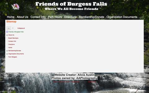 Screenshot of Site Map Page google.com - Sitemap - Friends of Burgess Falls - captured April 13, 2017