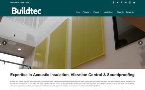 Screenshot of Home Page buildtec.ie - Acoustic Insulation | Soundproofing | Anti Vibration - Buildtec Acoustics - captured Oct. 7, 2018