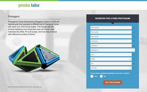 Screenshot of Landing Page protolabs.com - Register to receive a free Protogami design aid - captured Sept. 7, 2016