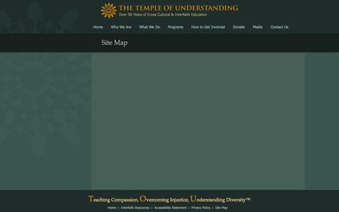 Screenshot of Site Map Page templeofunderstanding.org - Site Map - Temple of Understanding - captured Oct. 9, 2014