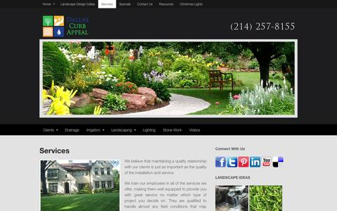 Screenshot of Services Page dallascurbappeal.com - Services | Dallas Curb Appeal - captured Oct. 5, 2014