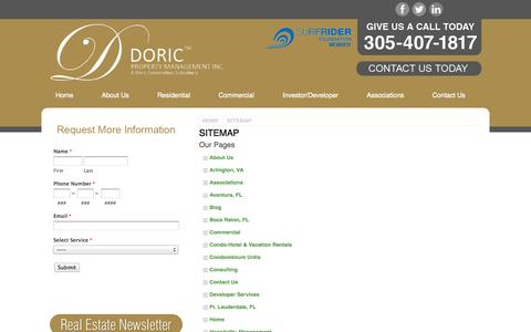 Screenshot of Site Map Page doricproperty.com - Sitemap for a Miami Beech Property Management Company | Doric Property Management - captured Oct. 5, 2014