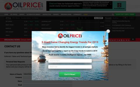 Screenshot of Contact Page oilprice.com - Contact Oilprice.com | OilPrice.com - captured Dec. 13, 2018