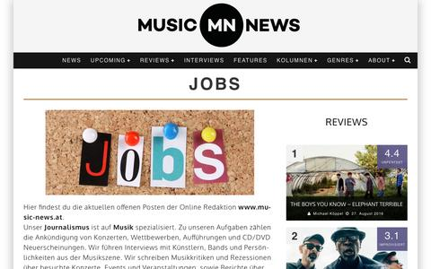 Screenshot of Jobs Page music-news.at - Jobs - Music News - captured Aug. 28, 2016