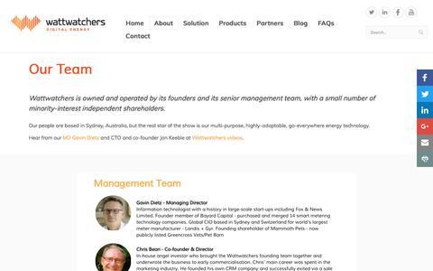 Screenshot of Team Page wattwatchers.com.au - Our Team - captured Dec. 13, 2016