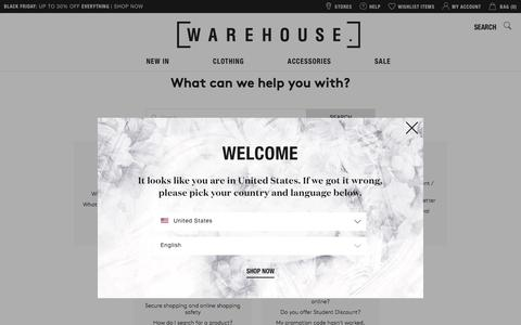 Screenshot of FAQ Page warehouse.co.uk - Warehouse FAQs - What can we help you with? | Warehouse - captured Nov. 28, 2016