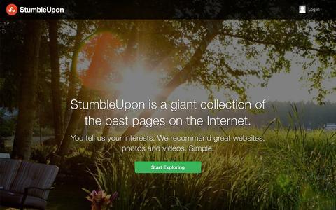 Screenshot of Home Page stumbleupon.com - Explore more. Web pages, photos, and videos | StumbleUpon.com - captured Jan. 15, 2015