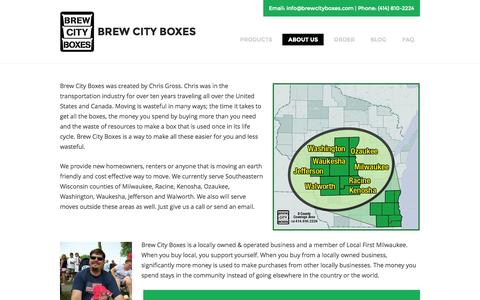 Screenshot of About Page brewcityboxes.com - About Us « Brew City Boxes Brew City Boxes - captured Oct. 5, 2014