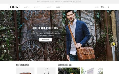 Screenshot of Home Page onabags.com - ONA | Fine Bags and Accessories | Stylish Camera Bags and Accessories - captured Oct. 2, 2015