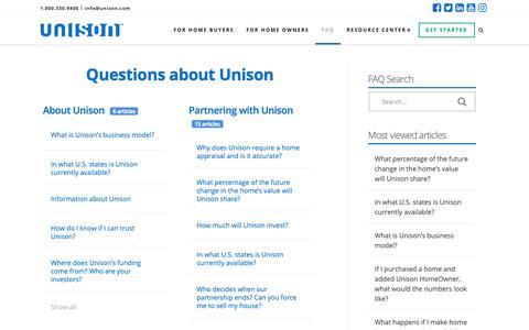 Screenshot of FAQ Page unison.com - (8) New Messages! - captured Feb. 14, 2019