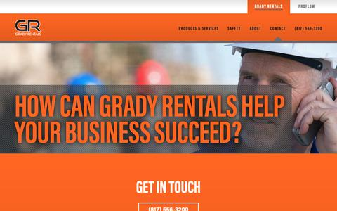 Screenshot of Contact Page gradyrentals.com - Contact Grady Rentals | Grady Rentals Premier Oilfield Rental - captured Sept. 29, 2018