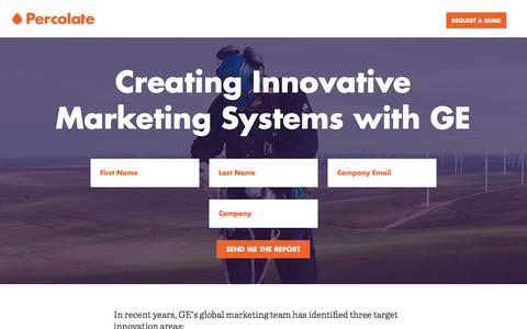 Screenshot of Case Studies Page percolate.com - Case Study: Creating Innovative Marketing Systems for GE - captured Oct. 19, 2016