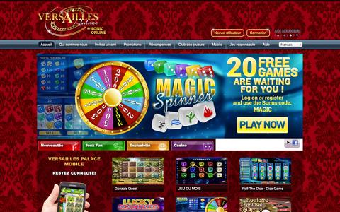 Screenshot of Home Page soniconline.be - Jeux de casino - Versailles Palace by Soniconline - captured Sept. 23, 2014