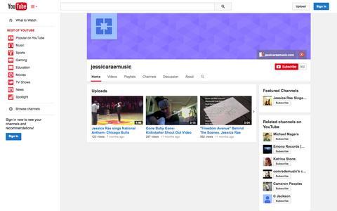 Screenshot of YouTube Page youtube.com - jessicaraemusic  - YouTube - captured Oct. 23, 2014