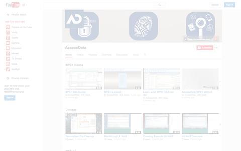 Screenshot of YouTube Page youtube.com - AccessData  - YouTube - captured Oct. 22, 2014