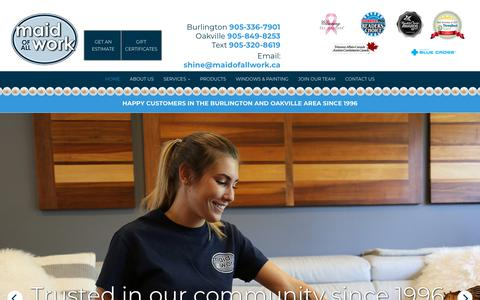 Screenshot of Home Page maidofallwork.ca - Residential Cleaning Burlington | Home | Maid of All Work - captured July 27, 2018