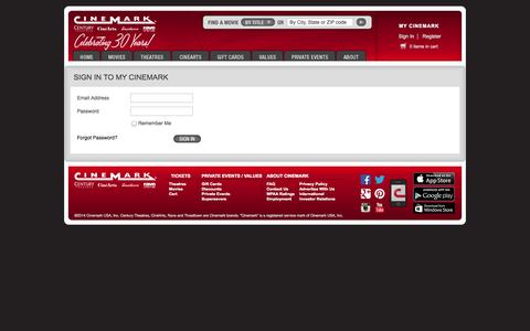 Screenshot of Login Page cinemark.com - Cinemark - UserAuthenticationHeader - captured Sept. 18, 2014