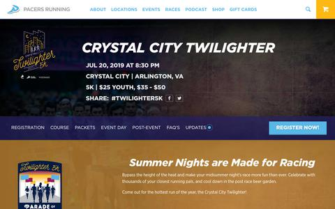 Screenshot of Signup Page runpacers.com - Crystal City Twilighter | Pacers Running - captured May 4, 2019
