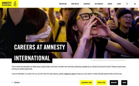 Screenshot of Jobs Page amnesty.org - Amnesty International - International Secretariat Careers - home - captured Oct. 22, 2015