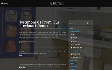 Screenshot of Testimonials Page lafontainesurgery.com - Testimonials From Our Previous Clients | La Fontaine Toronto Cosmetic Surgery and Liposuction Clinic will help you look your very best. - captured Nov. 4, 2014