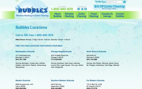 Screenshot of Locations Page bubbleswindowcleaning.com - Our Locations - Bubbles Window Cleaning - Chicago & Surrounding Suburbs - captured Oct. 5, 2014