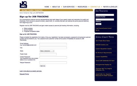 Screenshot of Signup Page jewel-craft.com - Jewel-Craft, Inc. | Sign up for JOB TRACKING - captured Oct. 6, 2014