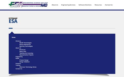Screenshot of Site Map Page esacorp.com - Sitemap - Engineering Science Analysis Manufacturing and Design - captured Aug. 8, 2017