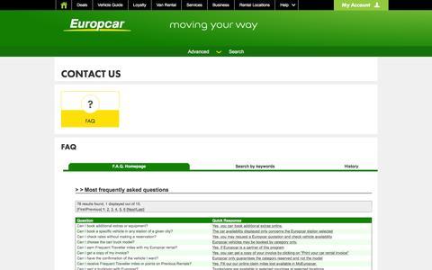 Screenshot of FAQ Page europcar.com - Contact us - our FAQ - captured Dec. 12, 2015