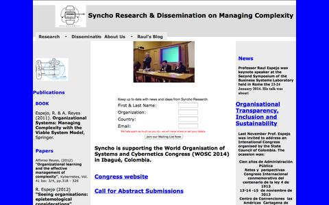 Screenshot of Home Page syncho.com - Syncho Research - leaders in Organisational Cybernetics, Viable System Model & Viplan Method and Methodology - captured Oct. 7, 2014