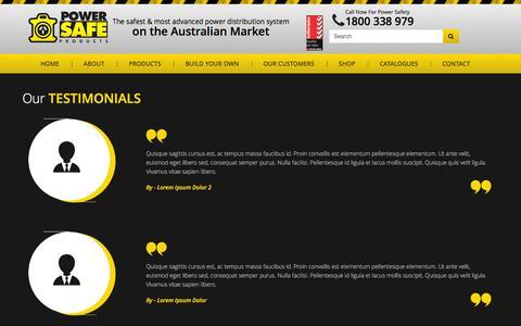 Screenshot of Testimonials Page powersafe.net.au - Testimonials | Powersafe - captured Jan. 30, 2016