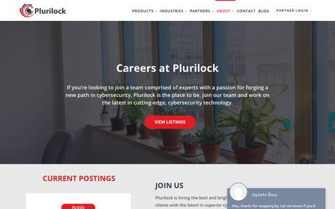 Screenshot of Jobs Page plurilock.com - Careers - Plurilock - captured July 12, 2018