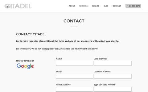 Screenshot of Contact Page citadelsecurityagency.com - Contact Us   Citadel Security Agency - captured July 13, 2016