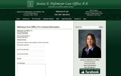 Screenshot of Contact Page hafemeyerlaw.com - Hafemeyer Law Office Contact Information - captured Oct. 16, 2017