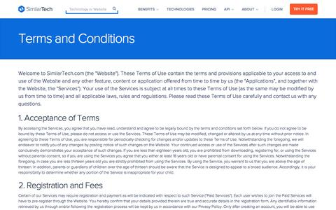 Screenshot of Terms Page similartech.com - Terms and Conditions - captured Dec. 1, 2015