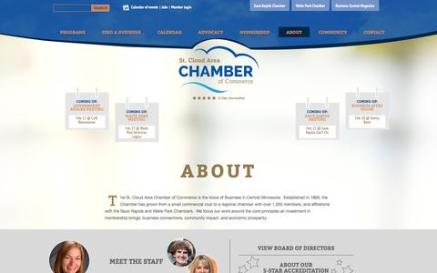 Screenshot of About Page stcloudareachamber.com - St. Cloud Area Chamber of Commerce - About - captured Feb. 16, 2016