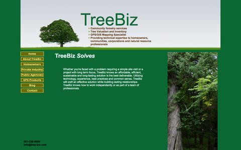 Screenshot of Home Page tree-biz.com - TreeBiz: community, commercial and residential forestry solutions - captured Oct. 7, 2014