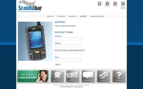 Screenshot of Support Page scannabar.com - Bar inventory system, Hotel inventory control - captured Oct. 4, 2014