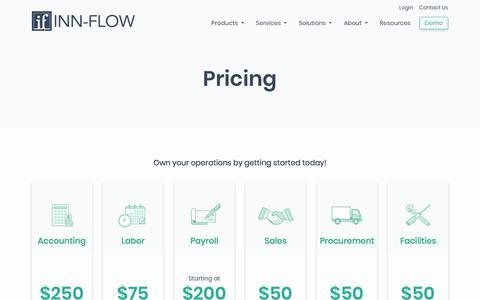 Screenshot of Pricing Page inn-flow.com - Hotel Management Software Starting at $50/mo | Inn-Flow - captured Nov. 8, 2019