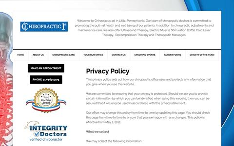 Privacy Policy | Chiropractic 1st
