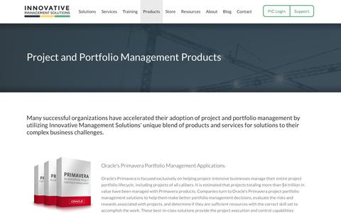 Screenshot of Products Page ims-web.com - Project and Portfolio Management Products | Innovative Management Solutions - captured Oct. 1, 2014