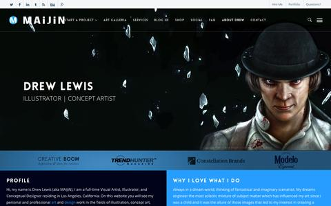 Screenshot of About Page maijintheartist.com - About Me « Drew Lewis: Illustrator & Concept Artist - captured Oct. 3, 2014