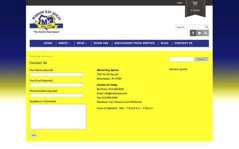Screenshot of Contact Page marionkay.com - Contact Us | Marion Kay Spices - captured Oct. 26, 2014
