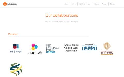 Screenshot of Services Page mindspace.gr - Collaborations – Mindspace - captured Oct. 15, 2017